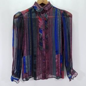 Vintage The Silk Farm Icinoo Printed Silk Blouse 8